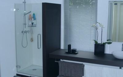 Badkamer, Douchewand met glasdeur, aangezette wastafel met doorlopende poot - Watervast MDF