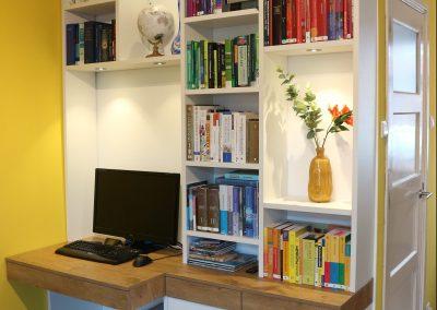 Boekenbureaukast, materiaal gemelamineerde plaat