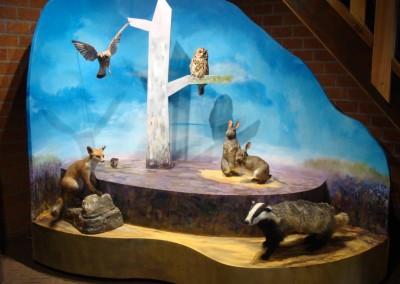 Schapedrift Ermelo, object met opgezette dieren, gemaakt van buig-MDF,  staat op wielen, is verplaatsbaar, beschilderd door Mieke van Haaff