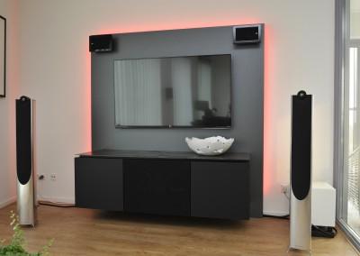 Audiomeubel, geroest stalenblad, middelste deur speakerdoek voor frontspeaker, RGB-ledverlichting