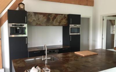 Keuken, Fenix nano zwarte kasten, blad geroest staal