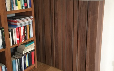Ombouw om radiator, los afneembaar, materiaal: shinnoki smoked walnut