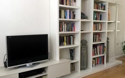 Wandkast met audiomeubel, ton sur ton gespoten