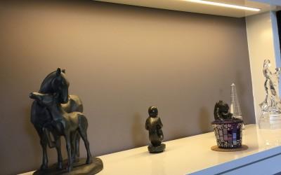 Detail: led-lichtrail in schap gefreest