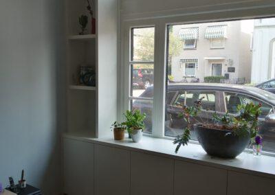 Diks Design, meubelmaker, design meubelen, wandmeubel, kast om raam, op maat