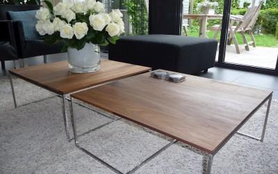 Salontafels, stalen frames met massief notenhouten blad