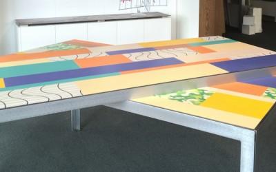 Frame tafel: Monica Armani, materiaal: 10 mm geborsteld RVS, blad: samengesteld HPL, afmeting: 1,72 x 0,88 x 0,75 m, prijs € 995 (per tafel)